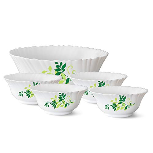 Larah by Borosil Fern Opalware Pudding Set, 5-Pieces, White