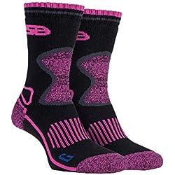 Storm Bloc - 2 pares mujer trabajo senderismo termico invierno calcetines reforzados lana de merino (37-42 eur, SBGLS003CHA)