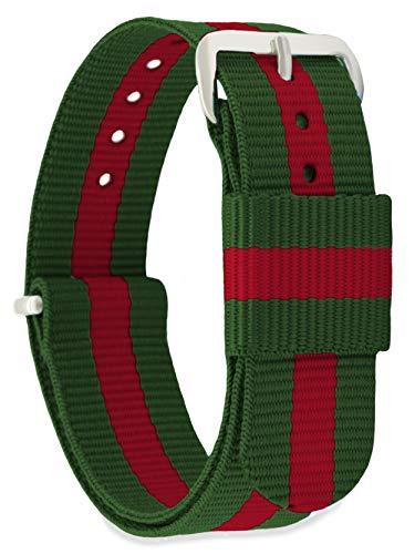 MOMENTO Correa de Reloj de Nato Nailon para Mujer y Hombre con Hebilla de Acero Inoxidable en Plateada con Tela Roja Verde en 16mm