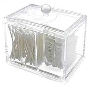 PuTwo Boîte à Coton 3 Cases Rangement Maquillage Acrylique Transparent Pour Coton Tige et Coton