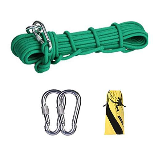 GOODLUKE Stahldrahtseil,10mm Sicherheit im Freien Rettung Seil Multifunktions Wäscheleine mit 2 * Karabiner Home Fluchtseil,Grün,25m