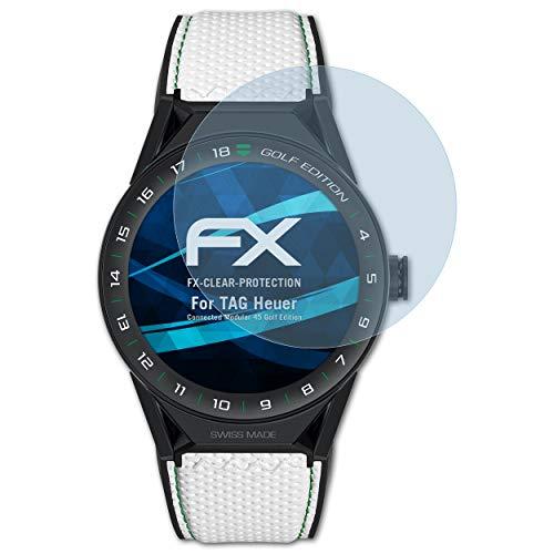 atFoliX Schutzfolie kompatibel mit Tag Heuer Connected Modular 45 Golf Edition Folie, ultraklare FX Bildschirmschutzfolie (3X)