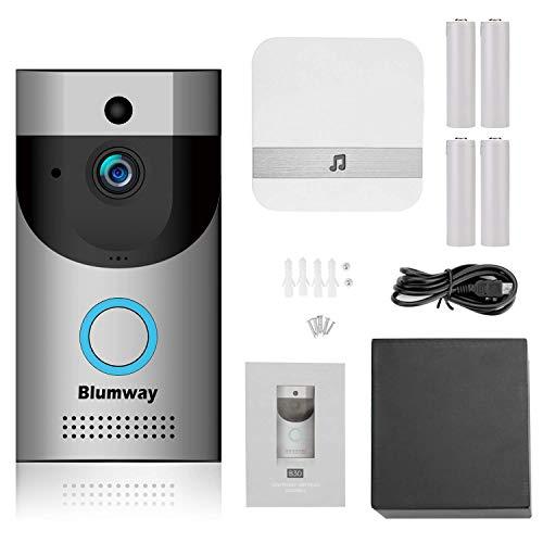 Sonnette vidéo sans fil, BlumWay caméra de sécurité IP65 étanche DoorBell 720P HD Wifi dans une mémoire 32G avec Glockenspiel et batterie rechargeable, contrôle des applications pour iOS et Android