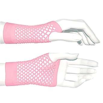Short Fishnet Fingerless Gloves - Light Pink