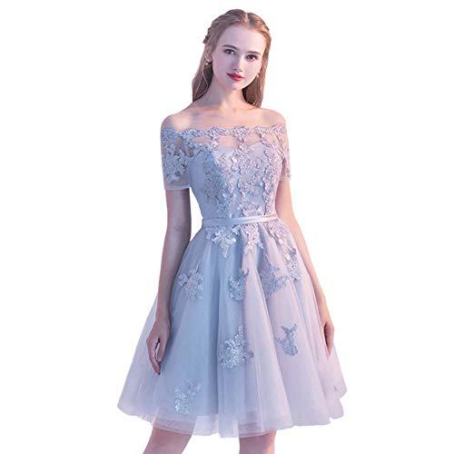 BINGQZ Damen/Elegant Kleid/Cocktailkleider Kurze Spitze-Hülsen-Abschlussball-Kleid-Boots-Ansatz-Abend-Party-Kleid-Elegantes Plusgrößen-formales Kleid Vestido de Festa (Kleid-boote Damen)