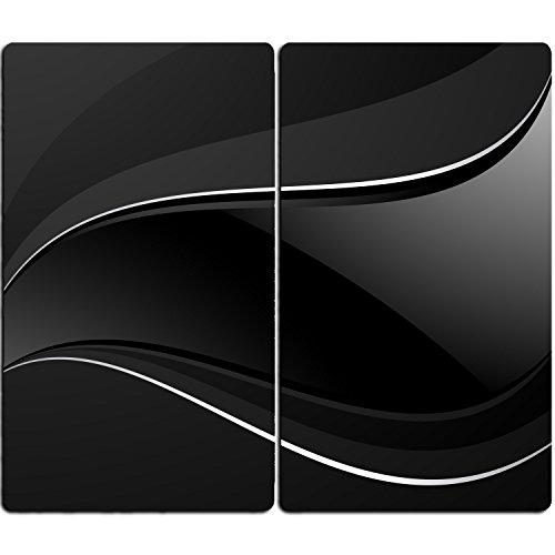 DEKOGLAS | Herdabdeckplatten aus Glas, inklusive Noppen | 2er-Set - 2 Stück 30x52 cm | Herdabdeckung, Schneidebrett, Spritzschutz | Abstrakte Linien schwarz