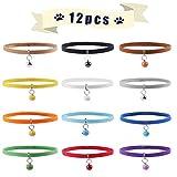 axuanyasi Puppy ID Bands ID Halsbänder für Pet Dogs Cats Länge verstellbar 12 Farben Newborn Größe 35 cm (Mit Glöckchen)