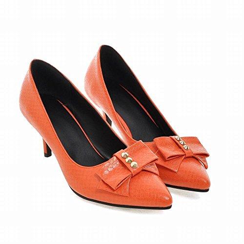 Mee Shoes Damen modern süß populär Kitten-Heel spitz mit Schleife Geschlossen Pumps Orange