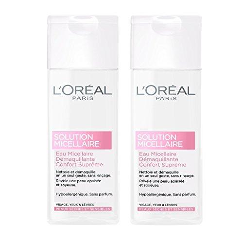 L'Oréal Paris Eau Micellaire Démaquillant Visage Peau Sèche Sensible - Lot de 2 x 200 ml
