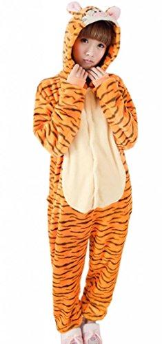 EOZY Damen Herren Overall Jumpsuit Tierkostüm (M, #F Orange Tiger) (Tiger Strampelanzug Kostüm Für Erwachsene)