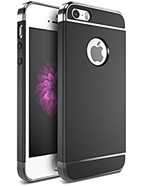 Funda iPhone 5/5s/SE Teryei® 3 in 1 alta calidad ultra fina Protector completo PC carcasa Shell Negro Cáscara...