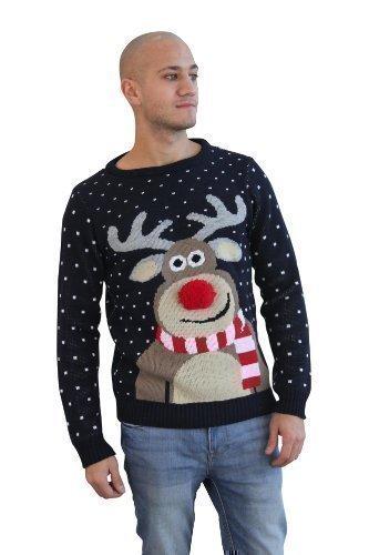 Maglione natalizio unisex con renna e naso a pom pom Red Medium