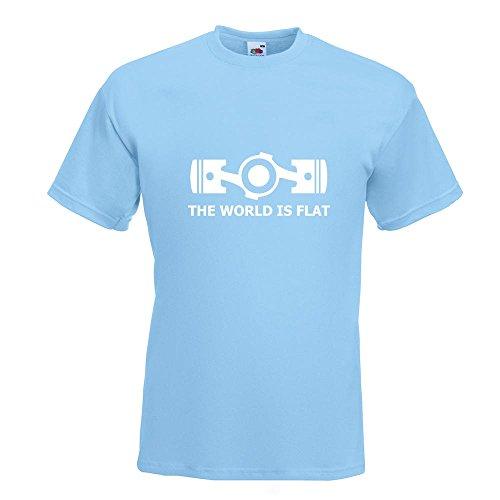 KIWISTAR - the World is flat T-Shirt in 15 verschiedenen Farben - Herren Funshirt bedruckt Design Sprüche Spruch Motive Oberteil Baumwolle Print Größe S M L XL XXL Himmelblau