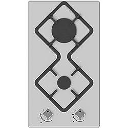 Hudson Table Plaque de Cuisson 2 feux Gaz - HDG 2 I - à encastrer - Design - Verre Inox - très haute résistance (510x290x40 mm), Gris