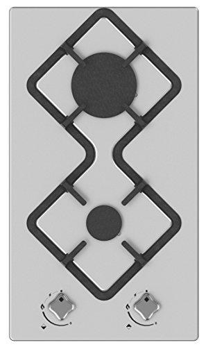 Hudson mesa placa de cocción 2Fuegos Gas–HDG 2I–empotrable–Design–Acero inoxidable y vidrio–muy alta...