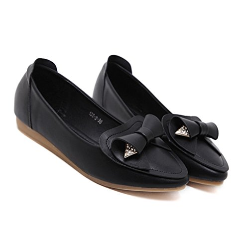 Damen Slipper Metall Glitzer mit Schleife Verziert Strapazierfähig Leicht Weich mit Gummi Sohlen Bequem Süß Modisch Schuhe Schwarz