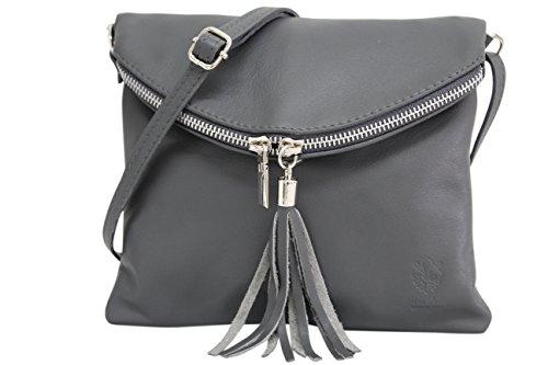 Ambramoda borsa a tracolla donna piccola borsa italiana realizzata in morbida vera pella savage nl610 (grigio scuro)
