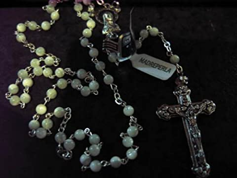 Mother of Pearl Small n smart Chapelet à perles-Perles Ronde petit Crucifix Argente