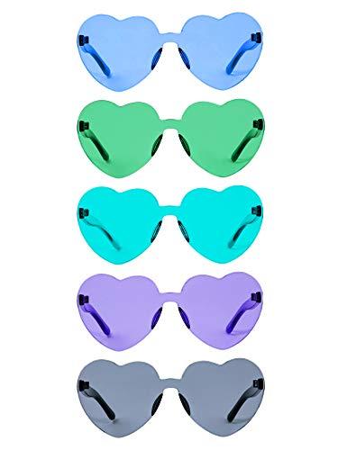 Herz Geformt Liebe Randlos Sonnenbrille Ein Stück Transparent Süßigkeiten Farbe Rahmenlose Brille Getönte Brillen (5 Paare Farbe D) (Süßigkeiten Geformte Herz)