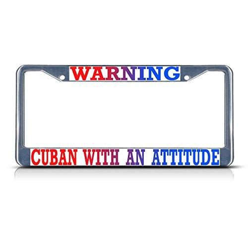 WANING Kubanische mit Einer Attitude, Kuba-Metall-Kennzeichenrahmen, ideal für Männer und Frauen, Auto-Garadge-Dekor