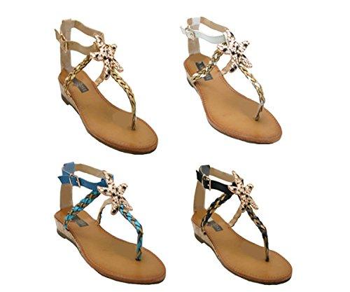 JustGlam - Chaussures Femme Sandales Tongs faux cuir avec étoile de mer talon faible Beige