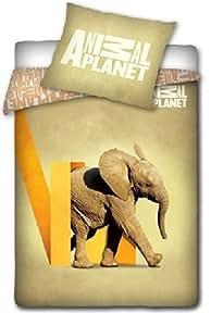 animal planet elephant linge de lit parure housse de couette 160x200 taie 70x80 d co. Black Bedroom Furniture Sets. Home Design Ideas