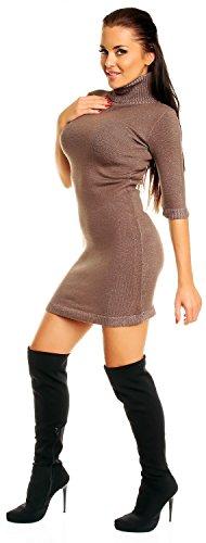 Zeta Ville - Mini robe moulante en maille col roulé coupe ajustée - femme 125z Cappuccino