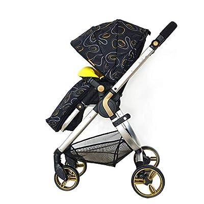 MU Comfortable Pushchairs Folding Pushchair,Stroller Kids Pram Travel System Reverse or Forward Facing High Landscape Can Sit Horizontal Portable,Black