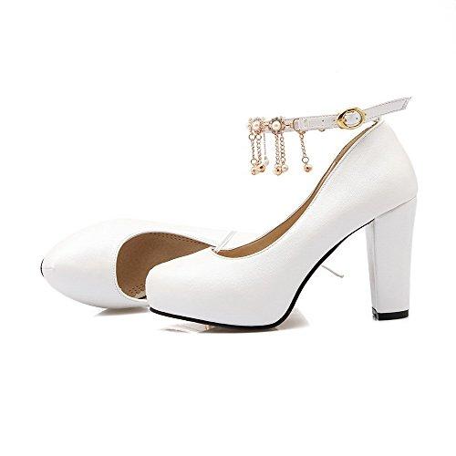 Do Pé Salto Sapatos Dedo Fivela Bombas Puro Alto Redondo Macio Senhoras Brancos Allhqfashion Material qE7Uvwz67