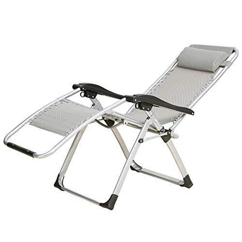 e Recliner für schwere Menschen Schwerelosigkeit Outdoor Beach Rasen Camping Patio tragbaren Stuhl, Unterstützung 440lbs, grau ()