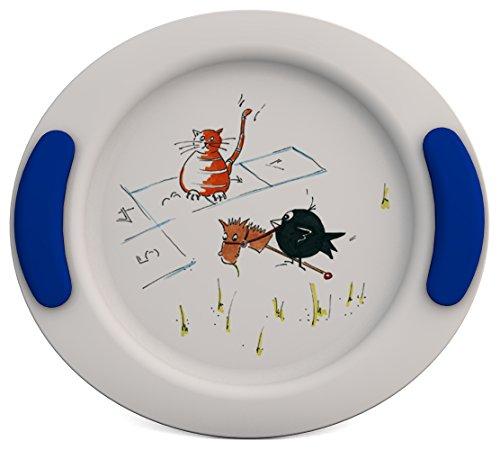 Ornamin Assiette Plate pour Enfants Ø 25 cm Marelle/Bleu (Modèle 301) / assiette bébé, assiette enfants, assiette plastique