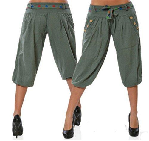 Hippolo Frauen Solid Color Loose Button Schmücken Low-Rise Casual Cropped Pants,Lässige Kurze Hose/Haremshose (M, Grün) (Low Leg-hosen Wide Rise)