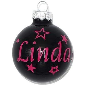 Weihnachtskugel mit Name aus Glas 6cm Wunschtext Schwarz Glänzend