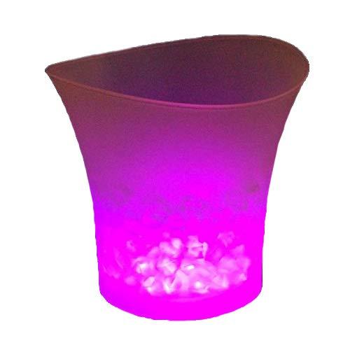 Codomoxo Eiswürfelbehälter, bunt, LED, Bar, Bier, Eiseimer aus Kunststoff, Rotwein, Champagner, transparent, leuchtend Rosa