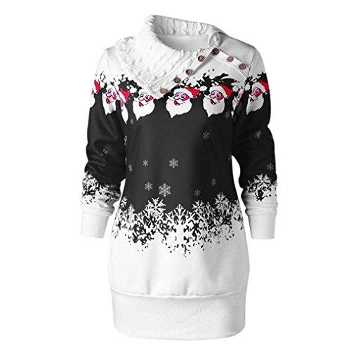 Plus Größe Drucken Tunika (Merry Christmas Tops Damen Sweatshirt Xinan Weihnachtsmann Schneeflocken Druck Plus Size Tunika Sweatshirt Dress Bluse Shirt Pullover (XXL, Schwarz))