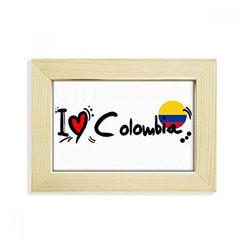 DIYthinker I Love Kolumbien Wort Flagge Love Herz Illustration Desktop Holz Bilderrahmen Art Malerei 12,7x 17,8cm