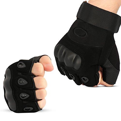 Xidan Taktische Fingerlose Handschuhe Militär Hard Knuckle Half Finger Handschuhe, Schwarz, L (Knuckle Schwarz Handschuhe Hard)