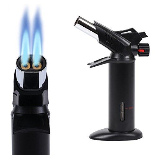 Takit KBT - Küchenbrenner mit Doppelflamme, Flambierer, von Crème brûlée bis BBQ, von Köchen verwendeter Flambierbrenner – Butangasbrenner - Schwarz