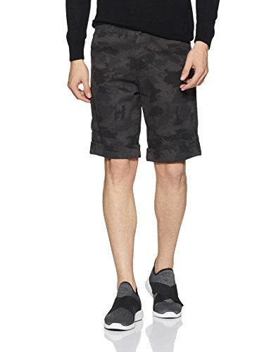 Diverse Men's Slim Fit Light Weight Cotton Shorts (DVS01S2L02-14_Grey and Black_34)