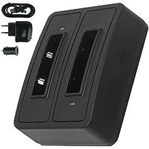 Cargador doble (USB/Coche/Corriente) BA-90 para Sennheiser Audioport A1, E90, E180 (Set 180), HDE 1030 / HDI 91, 92... / RI 200, RI 300... - v. lista
