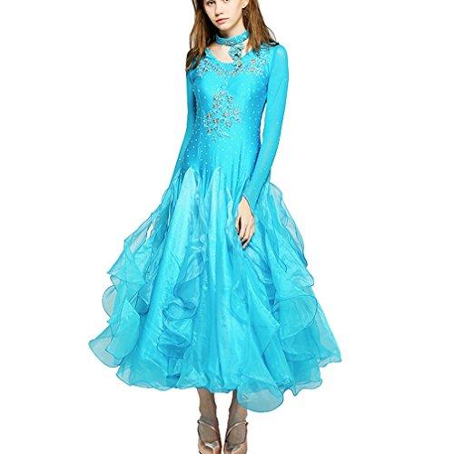 Damen Ballroom Tanz Wettbewerb Kleider Lange Ärmel Performance Kostüme Walzer Modern Tanz-Outfit, Blue, M (Blue Zeitgenössischen Tanz Kostüm)