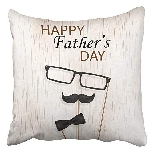 RAINNY Throw Pillow Covers Happy Fathers Day Concept Design Bow Tie Mustache Black Glasses On Wood Decor Pillowcases Polyester Square Hidden Zipper Home Cushion Decorative Pillowcase 18x18 inch Navy Silk Bow Tie