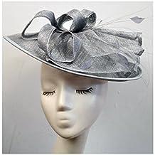 Sinamay de plumas de flores soporte de sombrero tocado diadema boda carrera Ascot accesorios para el pelo A16