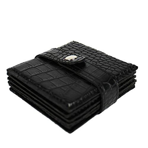 SIGNATURE HOME COLLECTION AP-183-A03 Untersetzer 6-er Set, 10 x 10 x 3 cm abwischbar, Leder Krokoprint, schwarz (Home Tischdekoration)