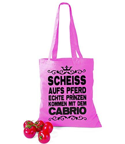 Artdiktat Baumwolltasche Scheiß auf´s Pferd - Echte Prinzen kommen mit dem Cabrio yellow pink