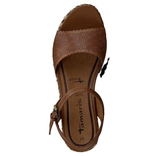 Tamaris Damen Keil sandalo 1-28370-305 cognac braun