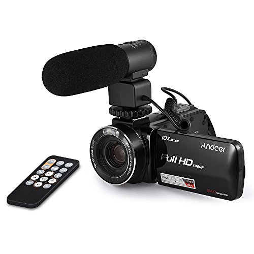 Andoer hdv-z82 1080p full hd 24mp videocamera digitale con il telecomando esterno mic touchscreen lcd da 3