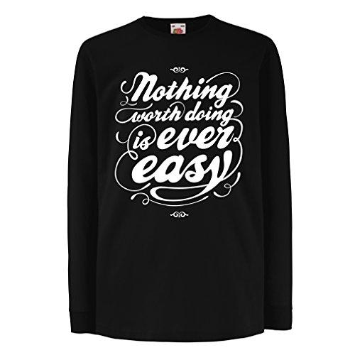 Bären Custom Schwarz T-shirt (Kinder-T-Shirt mit langen Ärmeln Motivationszitate für das Leben - Vintage Inspirational Lustige Sprüche (7-8 years Schwarz Mehrfarben))