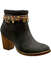 Angkorly - Zapatillas Moda Botines low boots mujer cadena metálico Hebilla Talón Tacón ancho alto 7.5 CM