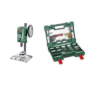 Bosch PBD 40 – Taladro de columna (710 W, caja de cartón) + Bosch V-Line Titanio – Maletín de 91 unidades para taladrar y atornillar